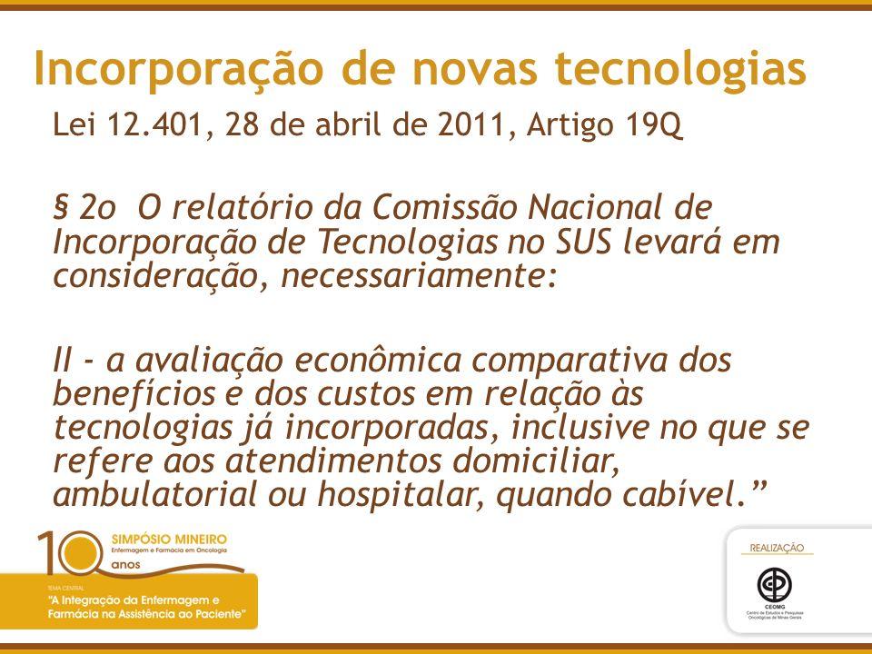 Incorporação de novas tecnologias Lei 12.401, 28 de abril de 2011, Artigo 19Q § 2o O relatório da Comissão Nacional de Incorporação de Tecnologias no