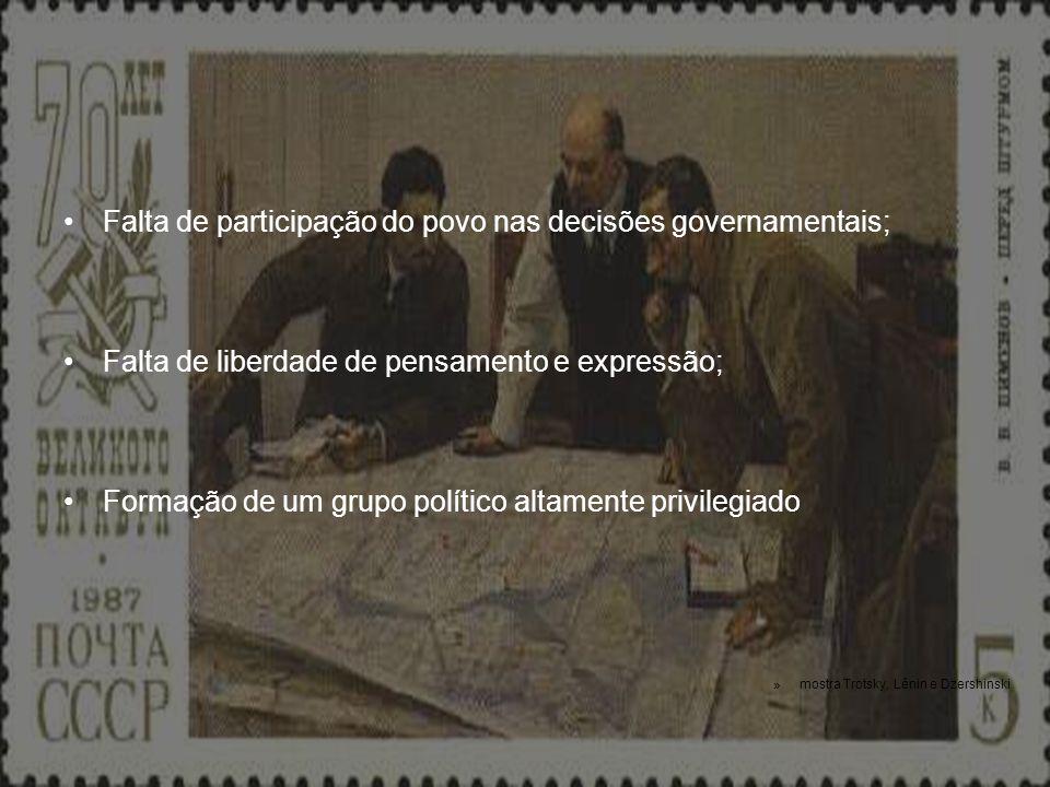 Falta de participação do povo nas decisões governamentais; Falta de liberdade de pensamento e expressão; Formação de um grupo político altamente privi
