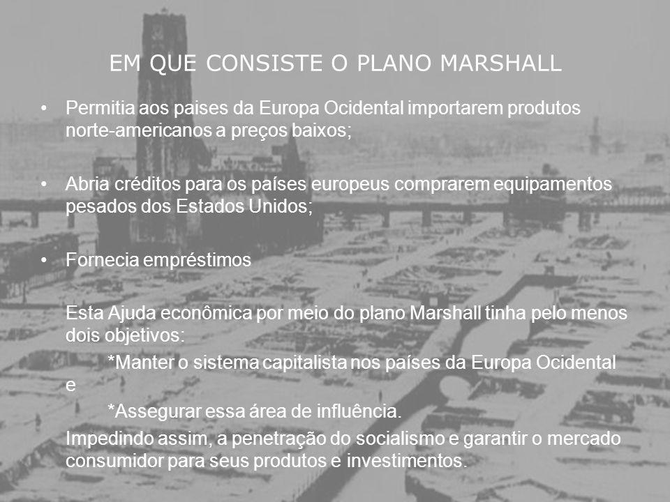 EM QUE CONSISTE O PLANO MARSHALL Permitia aos paises da Europa Ocidental importarem produtos norte-americanos a preços baixos; Abria créditos para os