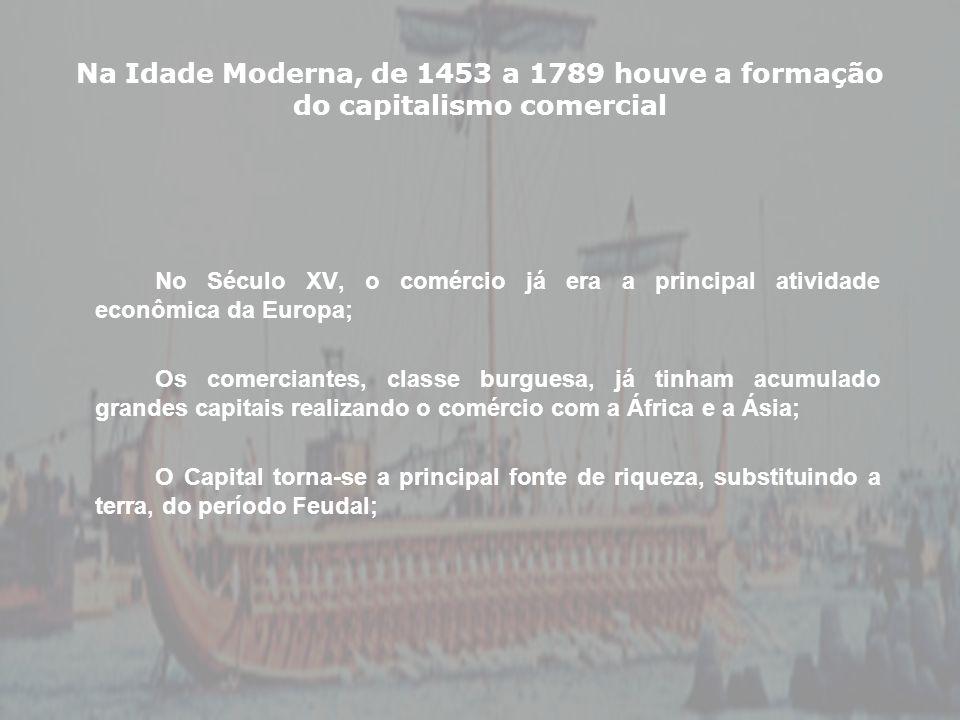 Na Idade Moderna, de 1453 a 1789 houve a formação do capitalismo comercial No Século XV, o comércio já era a principal atividade econômica da Europa;