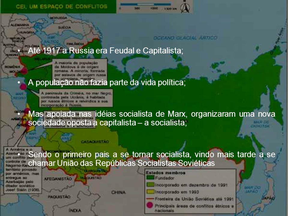 Até 1917 a Russia era Feudal e Capitalista; A população não fazia parte da vida política; Mas apoiada nas idéias socialista de Marx, organizaram uma n