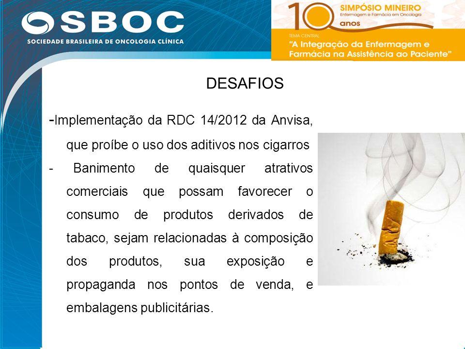 20 DESAFIOS - Implementação da RDC 14/2012 da Anvisa, que proíbe o uso dos aditivos nos cigarros - Banimento de quaisquer atrativos comerciais que pos