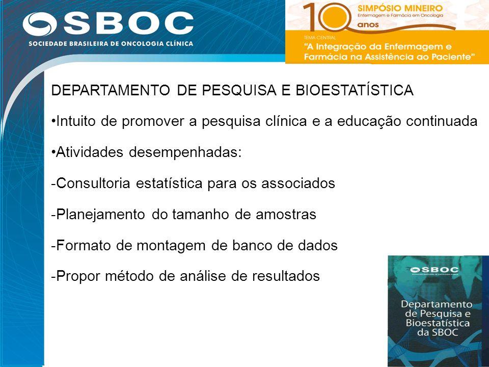 23 DEPARTAMENTO DE PESQUISA E BIOESTATÍSTICA Intuito de promover a pesquisa clínica e a educação continuada Atividades desempenhadas: -Consultoria est