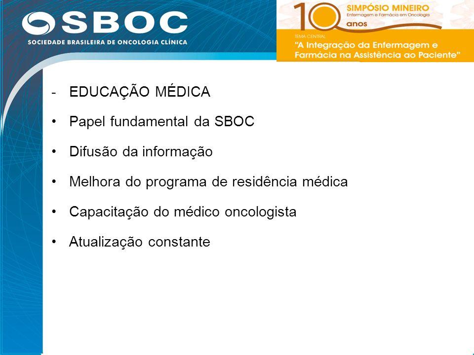 31 -EDUCAÇÃO MÉDICA Papel fundamental da SBOC Difusão da informação Melhora do programa de residência médica Capacitação do médico oncologista Atualiz