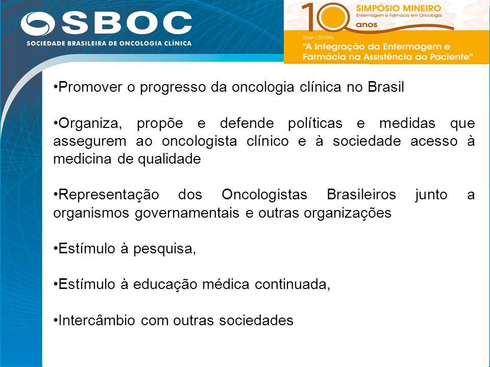4 Promover o progresso da oncologia clínica no Brasil Organiza, propõe e defende políticas e medidas que assegurem ao oncologista clínico e à sociedad