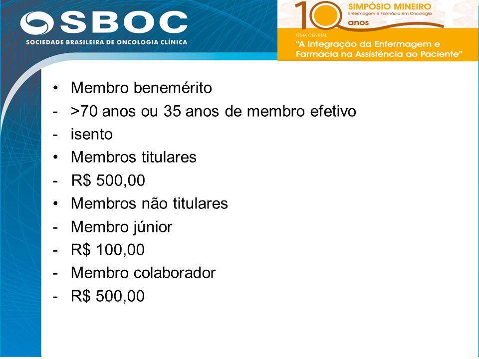 5 Membro benemérito ->70 anos ou 35 anos de membro efetivo -isento Membros titulares - R$ 500,00 Membros não titulares -Membro júnior -R$ 100,00 -Memb