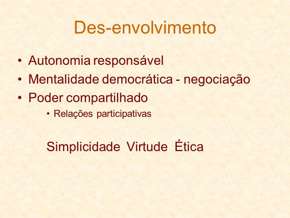 Des-envolvimento Autonomia responsável Mentalidade democrática - negociação Poder compartilhado Relações participativas Simplicidade Virtude Ética