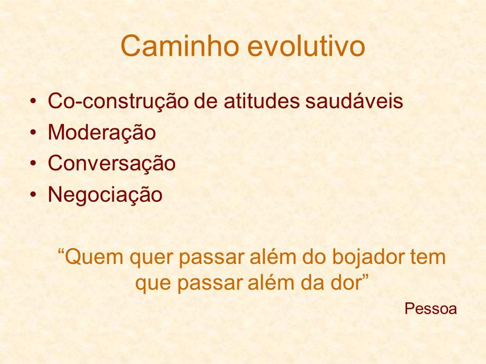 Caminho evolutivo Co-construção de atitudes saudáveis Moderação Conversação Negociação Quem quer passar além do bojador tem que passar além da dor Pes