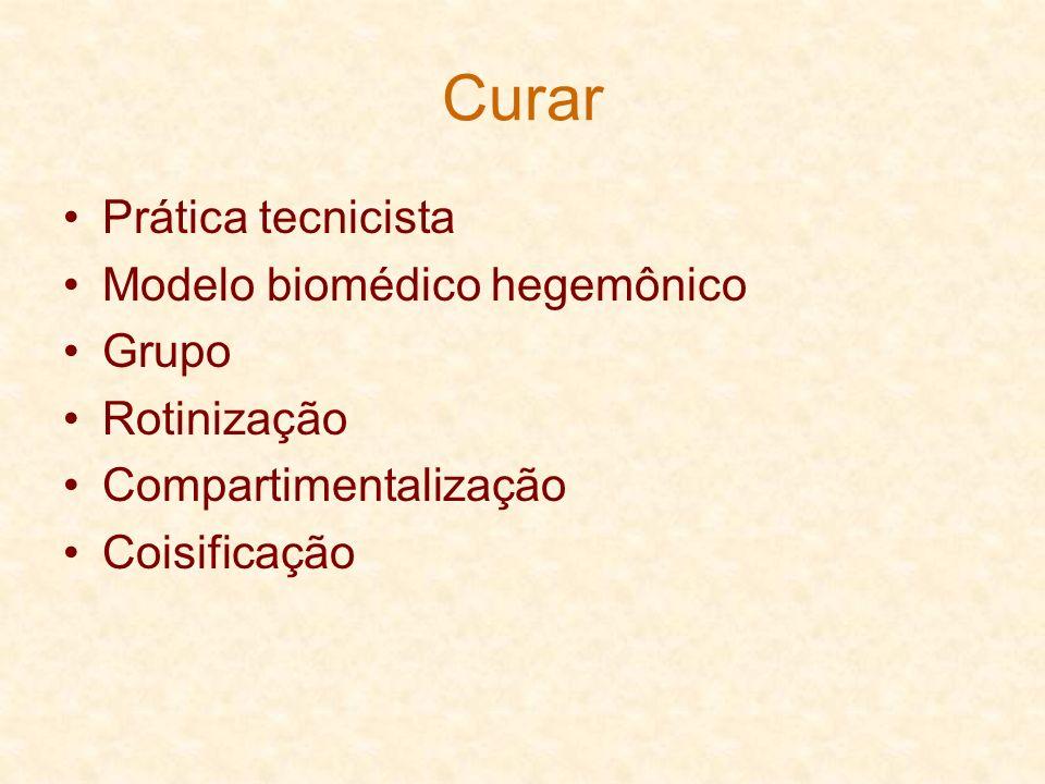 Curar Prática tecnicista Modelo biomédico hegemônico Grupo Rotinização Compartimentalização Coisificação