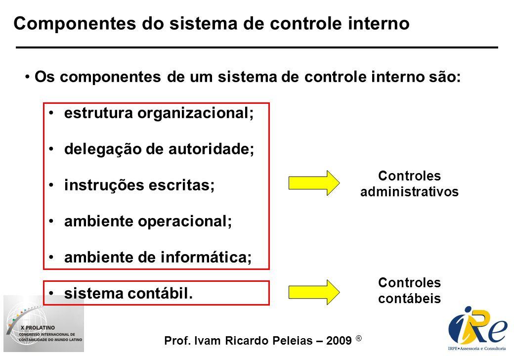 Prof. Ivam Ricardo Peleias – 2009 ® Os componentes de um sistema de controle interno são: estrutura organizacional; delegação de autoridade; instruçõe