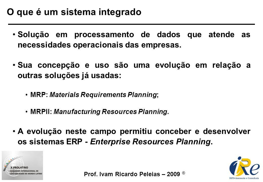 Prof. Ivam Ricardo Peleias – 2009 ® O que é um sistema integrado Solução em processamento de dados que atende as necessidades operacionais das empresa