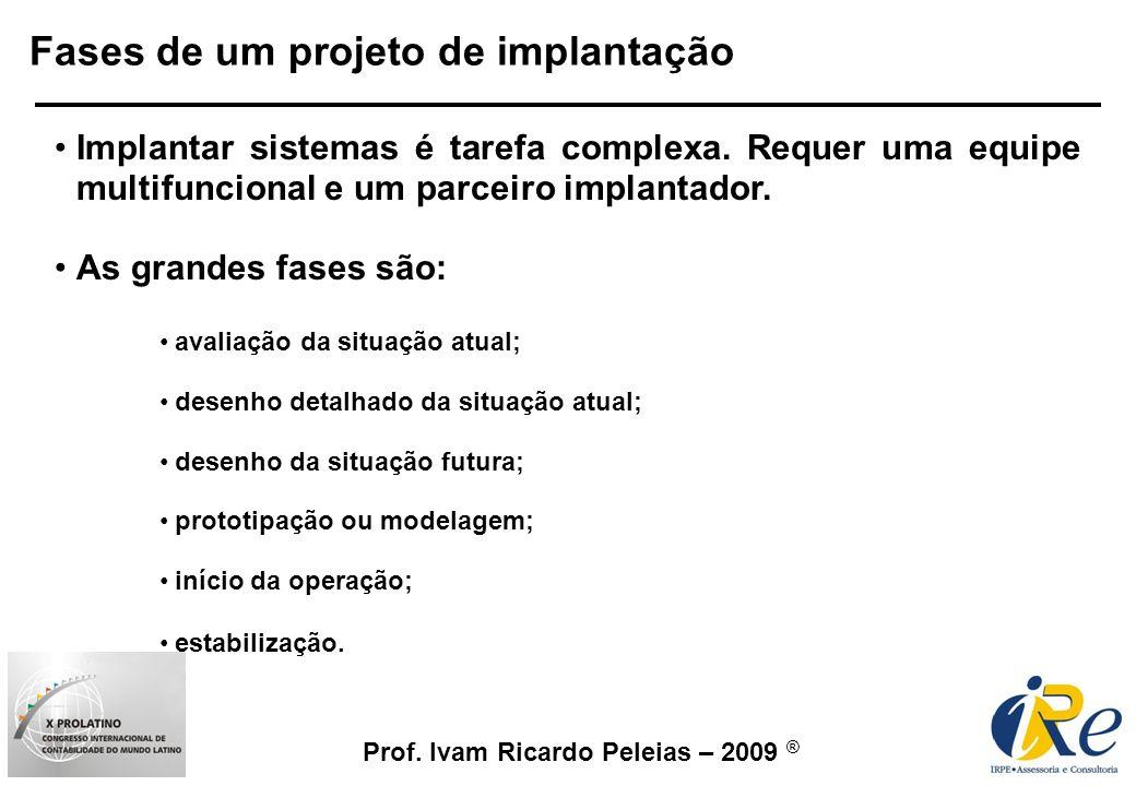 Prof. Ivam Ricardo Peleias – 2009 ® Fases de um projeto de implantação Implantar sistemas é tarefa complexa. Requer uma equipe multifuncional e um par