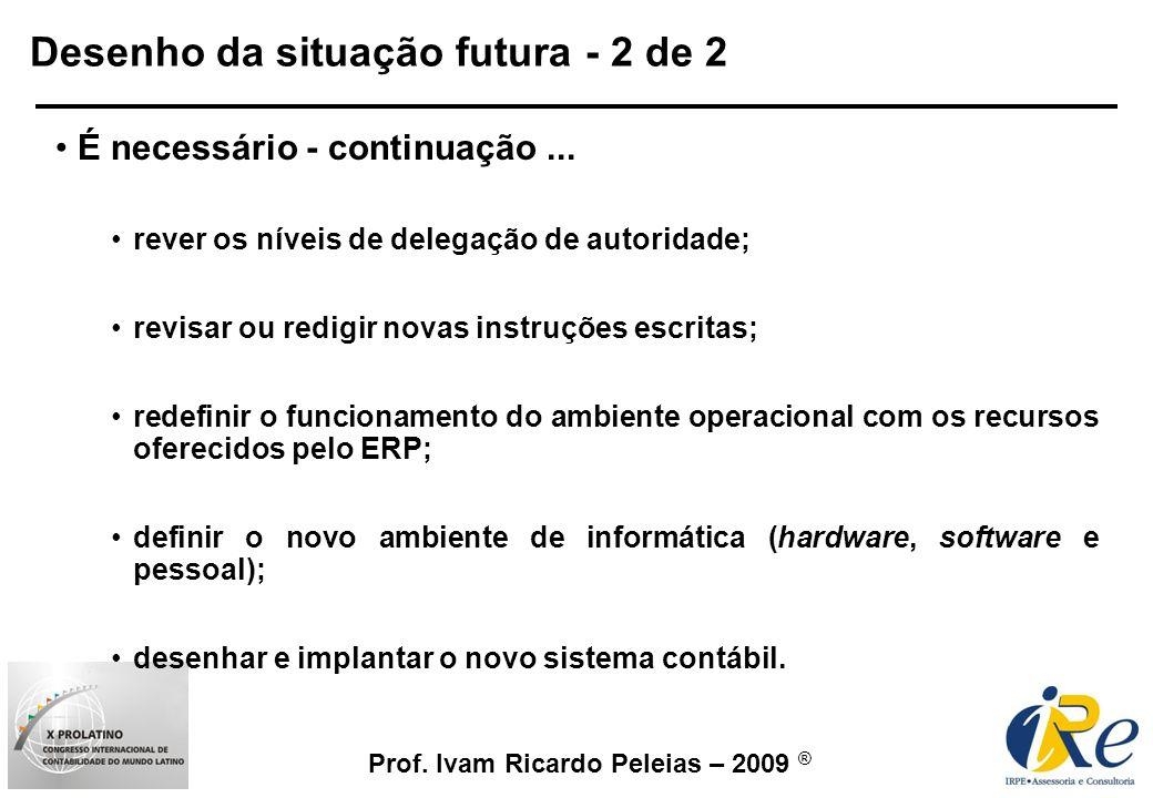 Prof. Ivam Ricardo Peleias – 2009 ® Desenho da situação futura - 2 de 2 É necessário - continuação... rever os níveis de delegação de autoridade; revi