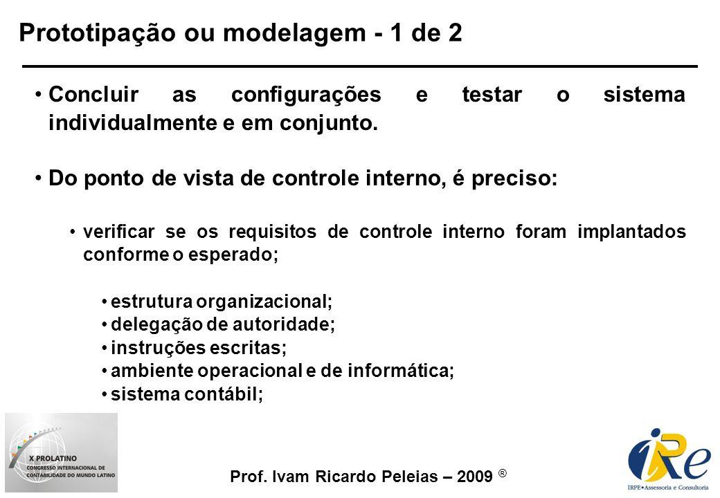 Prof. Ivam Ricardo Peleias – 2009 ® Prototipação ou modelagem - 1 de 2 Concluir as configurações e testar o sistema individualmente e em conjunto. Do