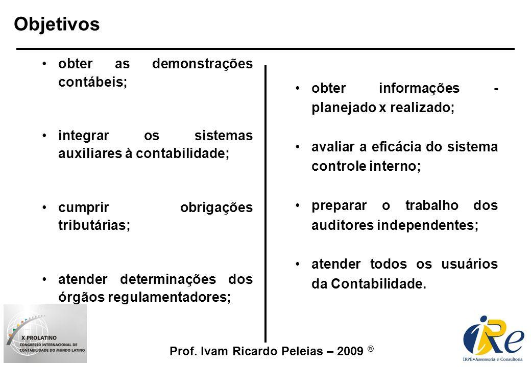 Prof. Ivam Ricardo Peleias – 2009 ® obter as demonstrações contábeis; integrar os sistemas auxiliares à contabilidade; cumprir obrigações tributárias;