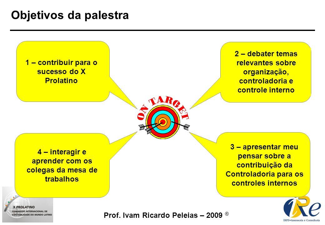 Prof. Ivam Ricardo Peleias – 2009 ® Objetivos da palestra 1 – contribuir para o sucesso do X Prolatino 2 – debater temas relevantes sobre organização,