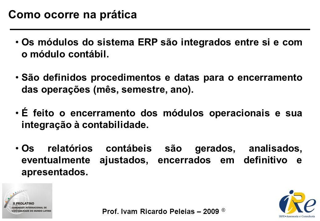 Prof. Ivam Ricardo Peleias – 2009 ® Os módulos do sistema ERP são integrados entre si e com o módulo contábil. São definidos procedimentos e datas par