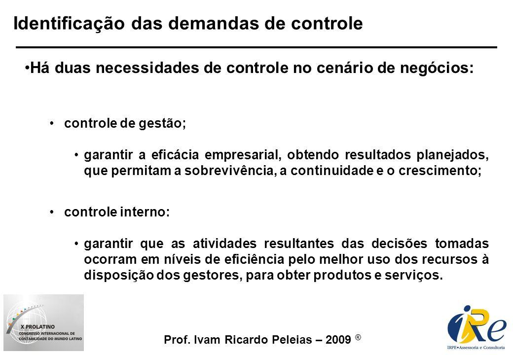 Prof. Ivam Ricardo Peleias – 2009 ® Identificação das demandas de controle Há duas necessidades de controle no cenário de negócios: controle de gestão