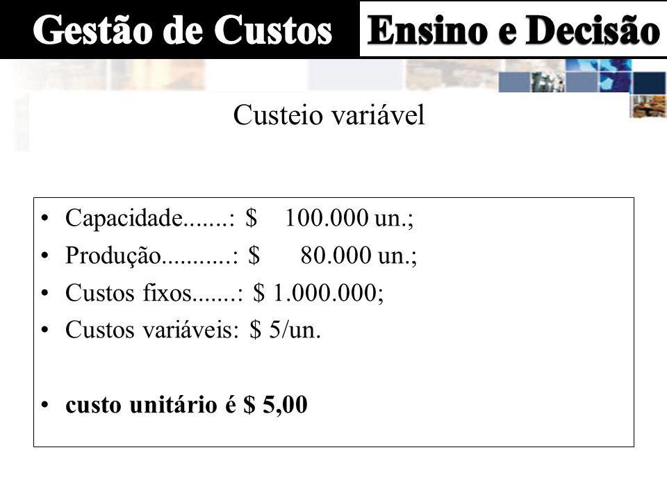 Custeio variável Capacidade.......: $ 100.000 un.; Produção...........: $ 80.000 un.; Custos fixos.......: $ 1.000.000; Custos variáveis: $ 5/un. cust