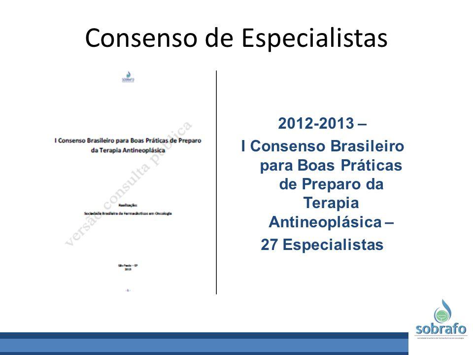 Consenso de Especialistas 2012-2013 – I Consenso Brasileiro para Boas Práticas de Preparo da Terapia Antineoplásica – 27 Especialistas