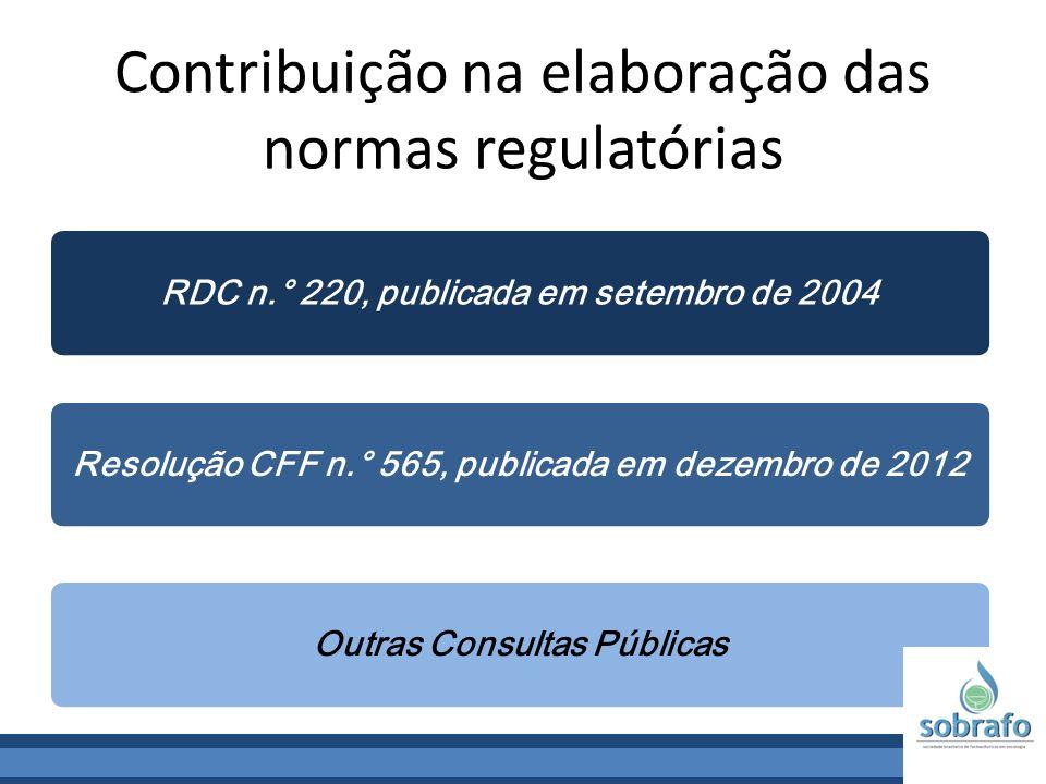Contribuição na elaboração das normas regulatórias RDC n.° 220, publicada em setembro de 2004Resolução CFF n.° 565, publicada em dezembro de 2012Outra