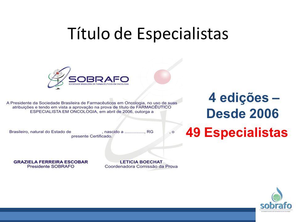 Título de Especialistas 4 edições – Desde 2006 49 Especialistas