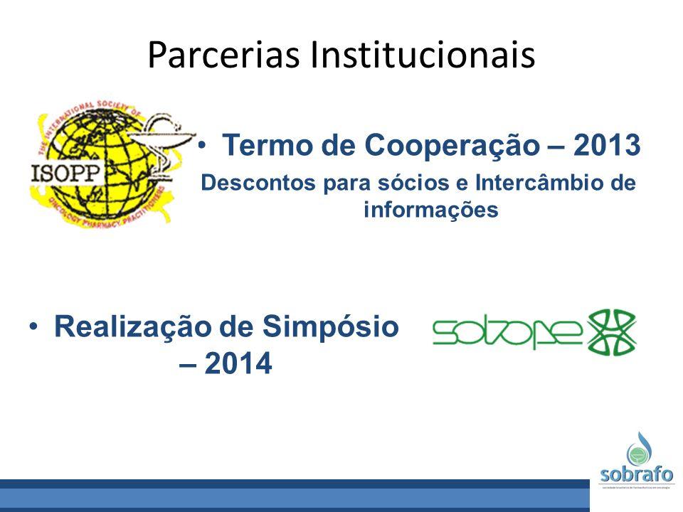 Parcerias Institucionais Termo de Cooperação – 2013 Descontos para sócios e Intercâmbio de informações Realização de Simpósio – 2014
