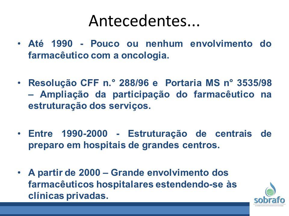 Antecedentes... Até 1990 - Pouco ou nenhum envolvimento do farmacêutico com a oncologia. Resolução CFF n.° 288/96 e Portaria MS n° 3535/98 – Ampliação