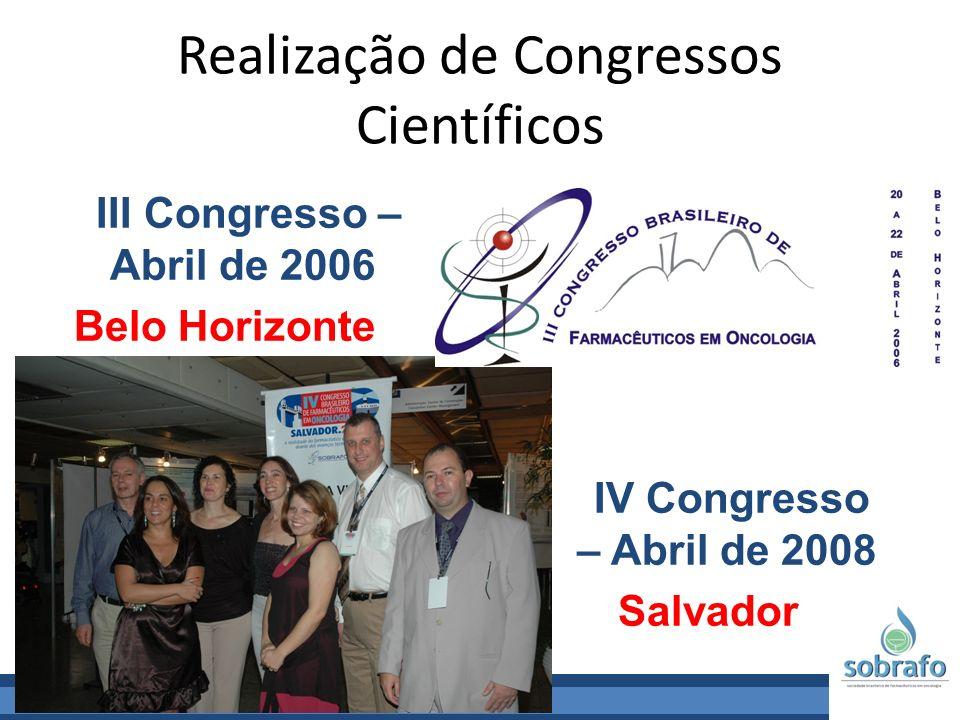 Realização de Congressos Científicos III Congresso – Abril de 2006 Belo Horizonte IV Congresso – Abril de 2008 Salvador