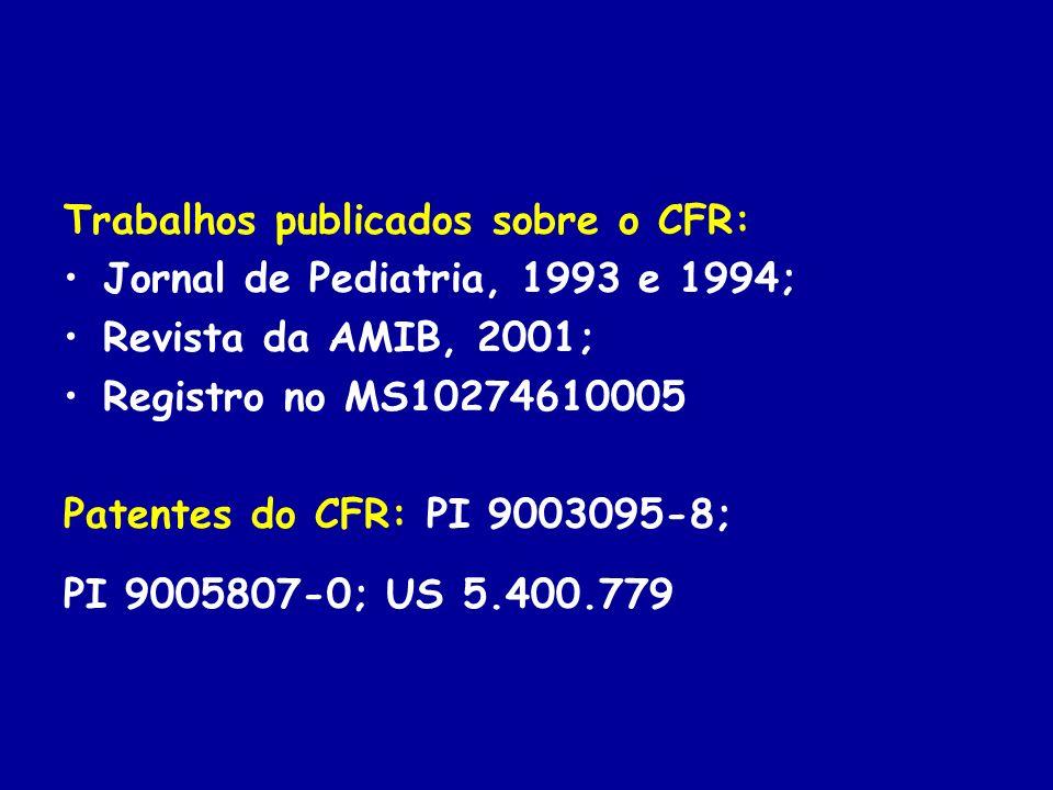 Trabalhos publicados sobre o CFR: Jornal de Pediatria, 1993 e 1994; Revista da AMIB, 2001; Registro no MS10274610005 Patentes do CFR: PI 9003095-8; PI