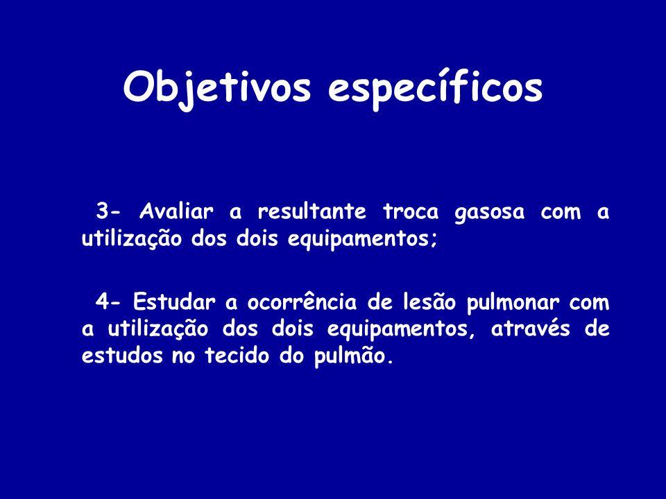 Objetivos específicos 3- Avaliar a resultante troca gasosa com a utilização dos dois equipamentos; 4- Estudar a ocorrência de lesão pulmonar com a uti