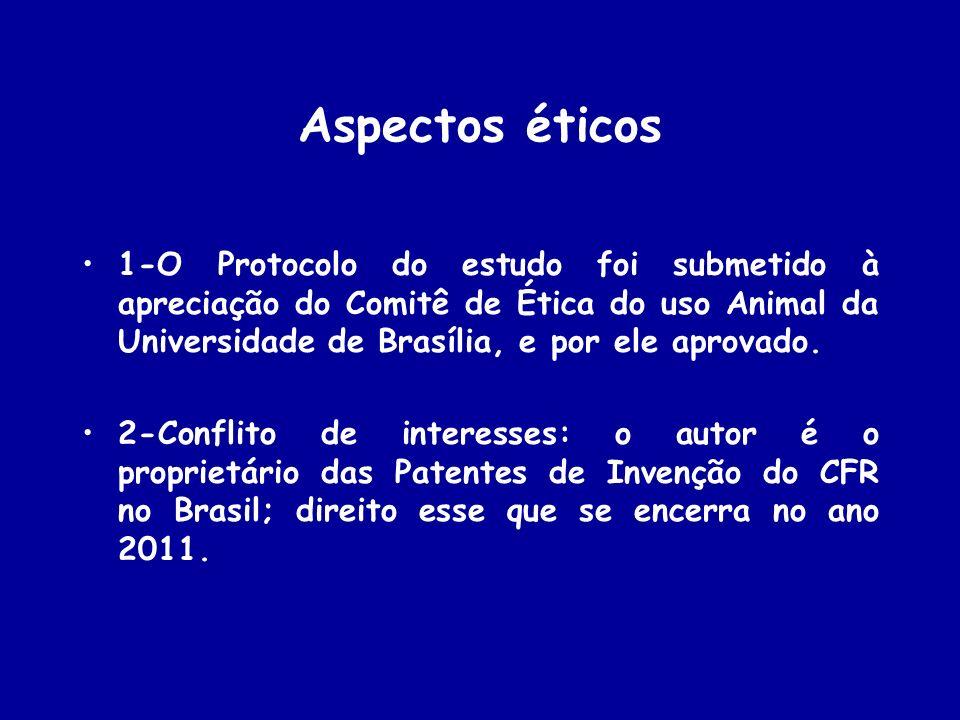 Aspectos éticos 1-O Protocolo do estudo foi submetido à apreciação do Comitê de Ética do uso Animal da Universidade de Brasília, e por ele aprovado. 2