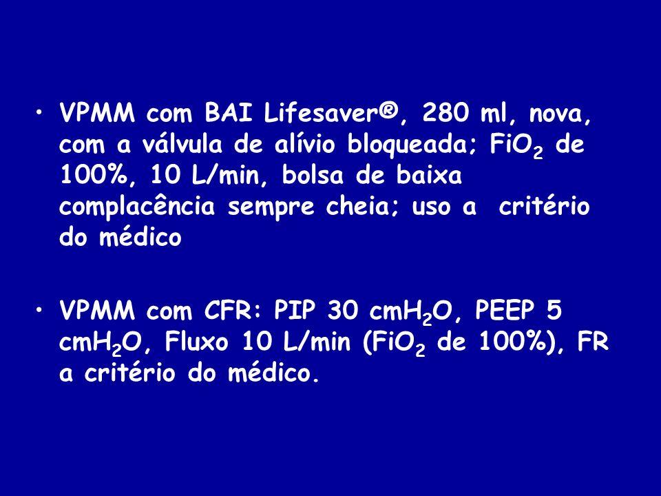 VPMM com BAI Lifesaver®, 280 ml, nova, com a válvula de alívio bloqueada; FiO 2 de 100%, 10 L/min, bolsa de baixa complacência sempre cheia; uso a cri