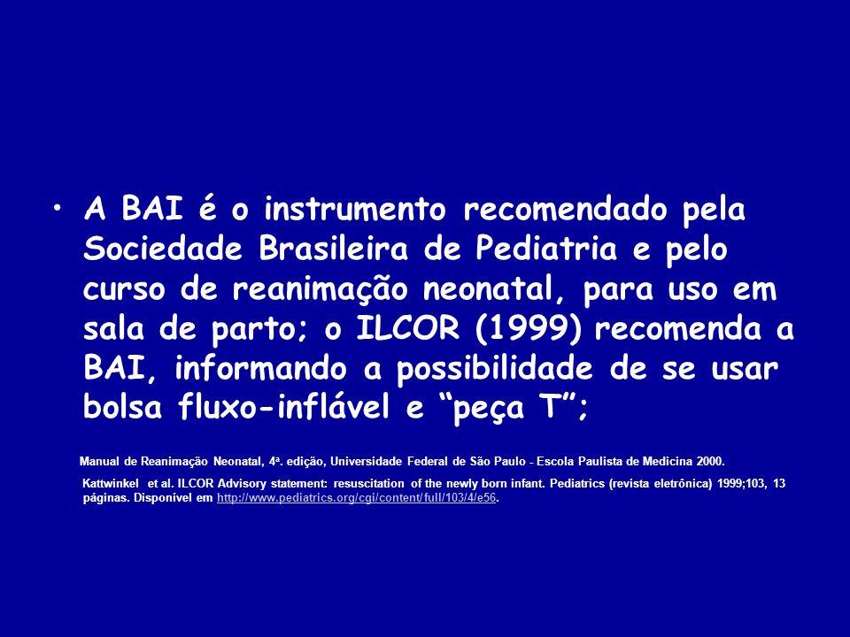 A BAI é o instrumento recomendado pela Sociedade Brasileira de Pediatria e pelo curso de reanimação neonatal, para uso em sala de parto; o ILCOR (1999