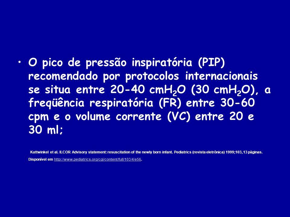O pico de pressão inspiratória (PIP) recomendado por protocolos internacionais se situa entre 20-40 cmH 2 O (30 cmH 2 O), a freqüência respiratória (F