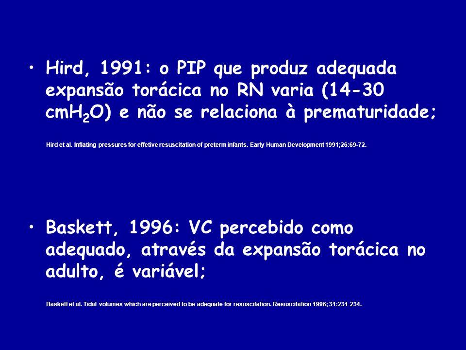 Hird, 1991: o PIP que produz adequada expansão torácica no RN varia (14-30 cmH 2 O) e não se relaciona à prematuridade; Hird et al. Inflating pressure