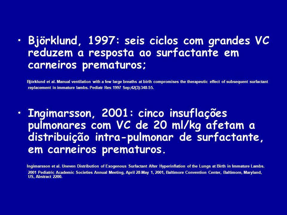 Wada,1997: grandes VC (>10 ml/kg) nos primeiros 30 min de vida alteram mais a mecânica ventilatória de carneiros prematuros do que VC menores Wada K, Jobe AH, Ikegami M.
