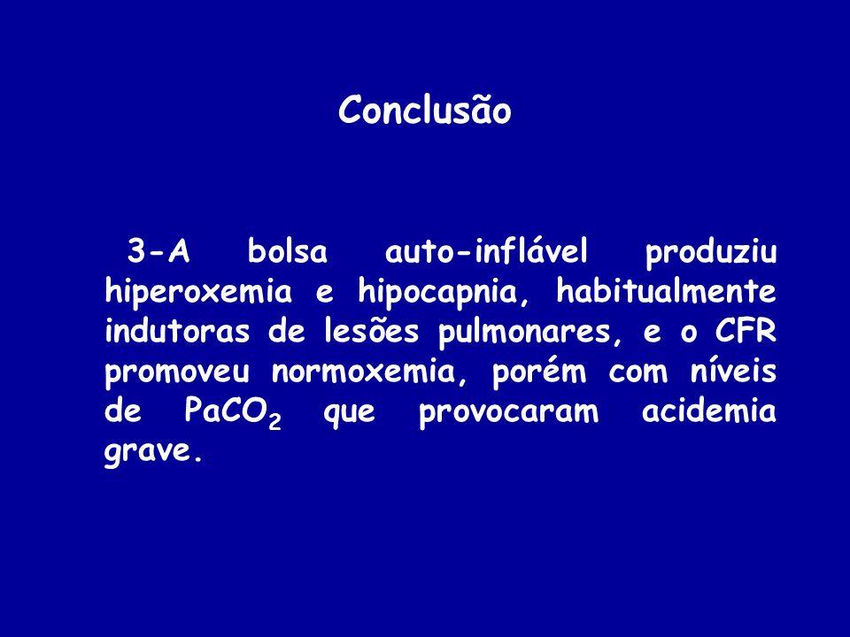 Conclusão 3-A bolsa auto-inflável produziu hiperoxemia e hipocapnia, habitualmente indutoras de lesões pulmonares, e o CFR promoveu normoxemia, porém