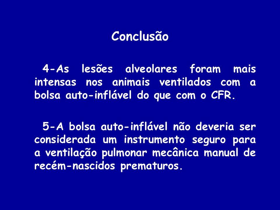 Conclusão 4-As lesões alveolares foram mais intensas nos animais ventilados com a bolsa auto-inflável do que com o CFR. 5-A bolsa auto-inflável não de