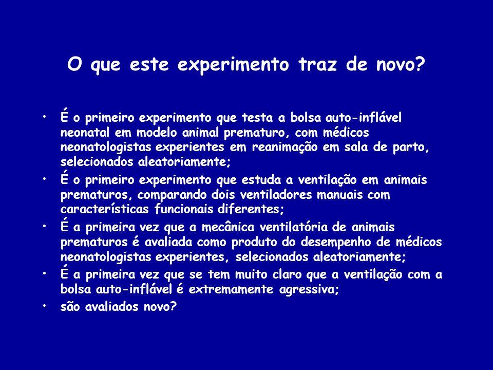 O que este experimento traz de novo? É o primeiro experimento que testa a bolsa auto-inflável neonatal em modelo animal prematuro, com médicos neonato