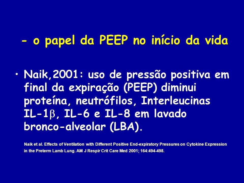 Michna, 1999: PEEP de 4 e de 7 cmH 2 O produzem melhor CDyn/kg e relação PaO 2 /FiO 2 do que quando se utiliza PEEP zero, durante a ventilação de carneiros prematuros, logo após o nascimento.