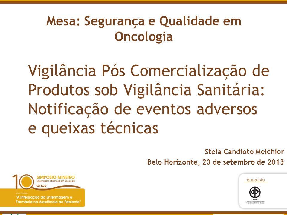 Mesa: Segurança e Qualidade em Oncologia Vigilância Pós Comercialização de Produtos sob Vigilância Sanitária: Notificação de eventos adversos e queixa