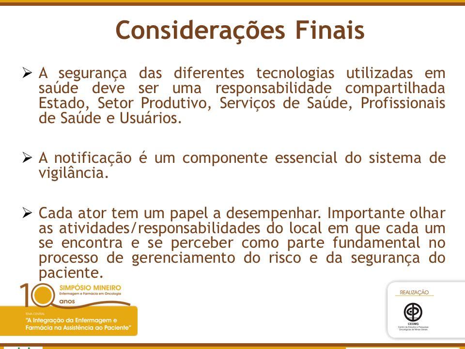 Agência Nacional de Vigilância Sanitária www.anvisa.gov.br A segurança das diferentes tecnologias utilizadas em saúde deve ser uma responsabilidade co