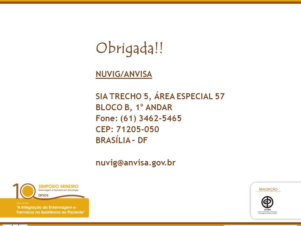 Agência Nacional de Vigilância Sanitária www.anvisa.gov.br Obrigada!! NUVIG/ANVISA SIA TRECHO 5, ÁREA ESPECIAL 57 BLOCO B, 1° ANDAR Fone: (61) 3462-54