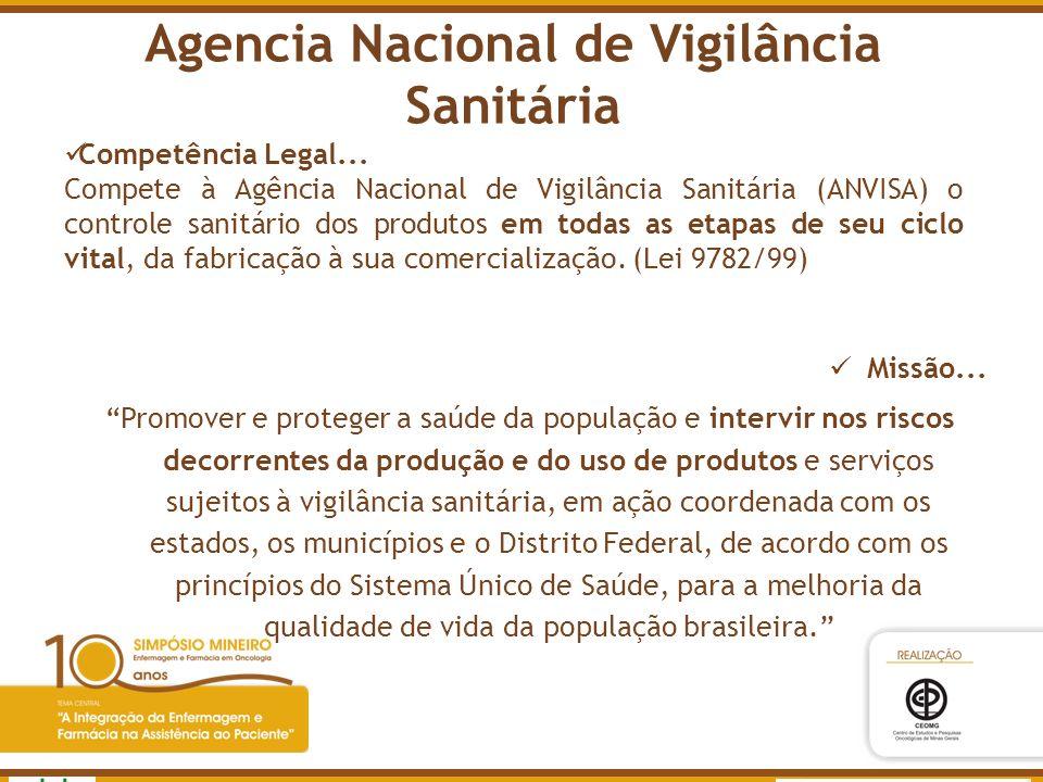 Agência Nacional de Vigilância Sanitária www.anvisa.gov.br Agencia Nacional de Vigilância Sanitária Competência Legal... Compete à Agência Nacional de