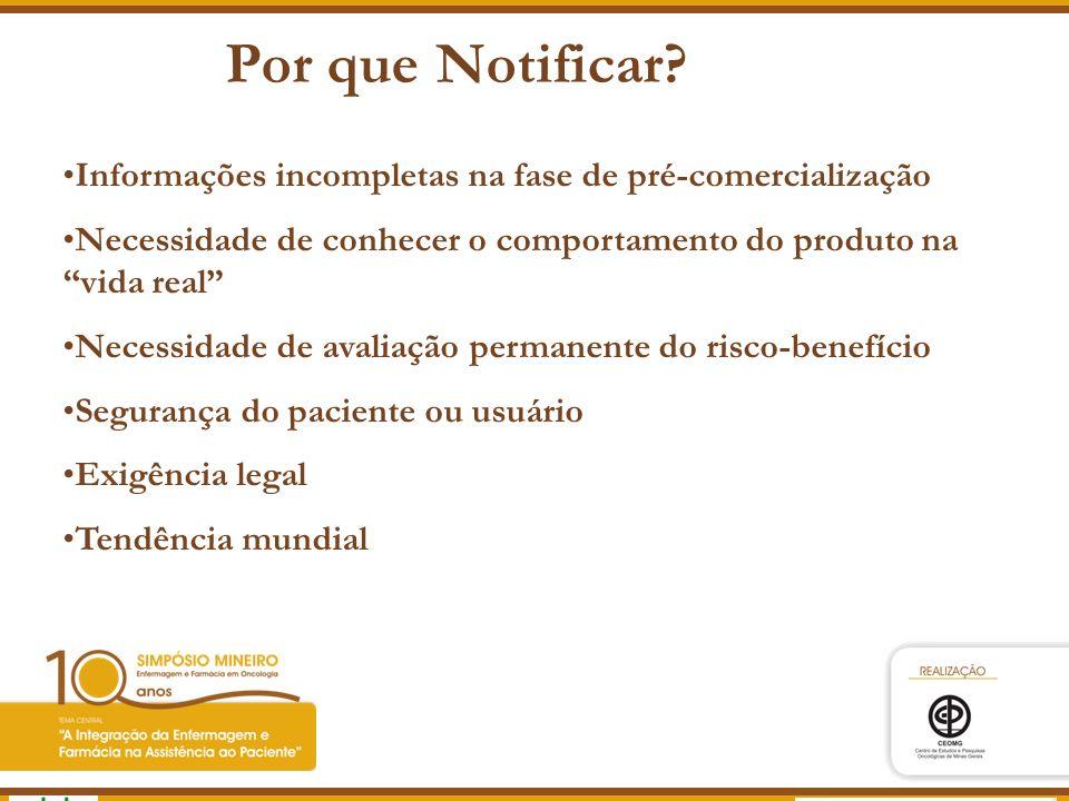 Agência Nacional de Vigilância Sanitária www.anvisa.gov.br Por que Notificar? Informações incompletas na fase de pré-comercialização Necessidade de co