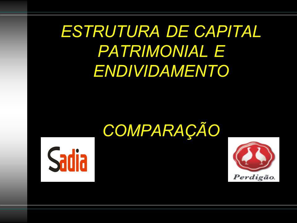 ESTRUTURA DE CAPITAL PATRIMONIAL E ENDIVIDAMENTO COMPARAÇÃO