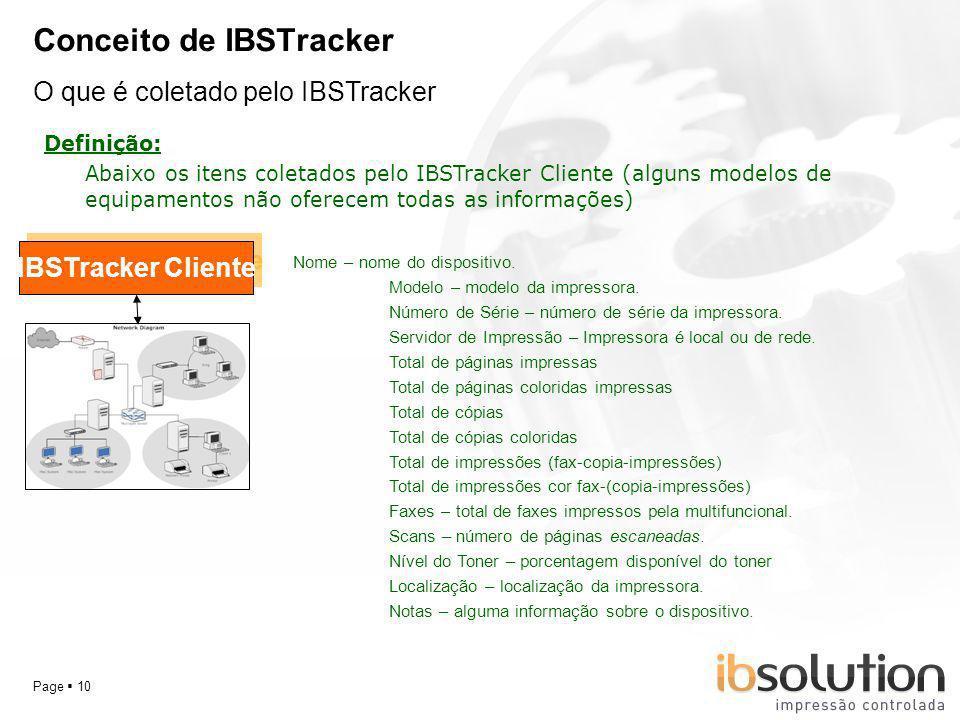 YOUR LOGO Page 10 Conceito de IBSTracker O que é coletado pelo IBSTracker Definição: IBSTracker Cliente Abaixo os itens coletados pelo IBSTracker Clie
