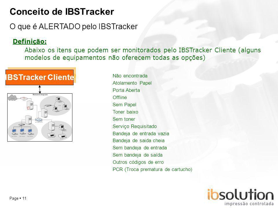 YOUR LOGO Page 11 Conceito de IBSTracker O que é ALERTADO pelo IBSTracker Definição: IBSTracker Cliente Abaixo os itens que podem ser monitorados pelo