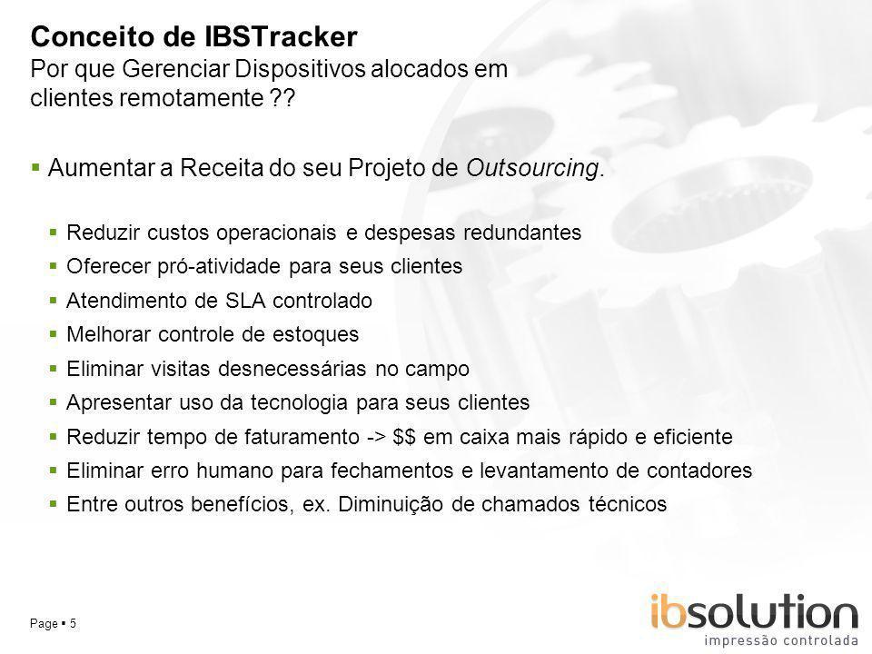 YOUR LOGO Page 5 Conceito de IBSTracker Aumentar a Receita do seu Projeto de Outsourcing. Reduzir custos operacionais e despesas redundantes Oferecer